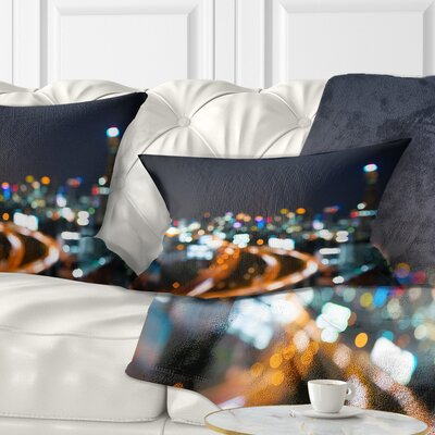Bangkok City at Twilight Cityscape Pillow Size: 12 x 20, Product Type: Lumbar pillow