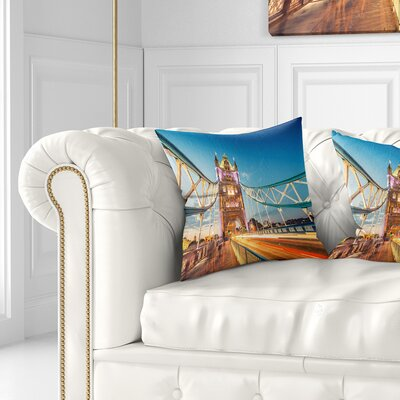 Beautiful View of Tower Bridge London Cityscape Pillow Size: 26 x 26, Product Type: Euro Pillow