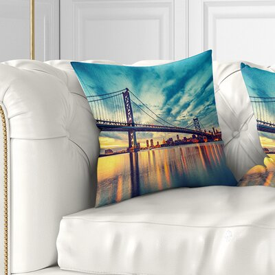 Ben Franklin Bridge in Philadelphia Cityscape Pillow Size: 18 x 18, Product Type: Throw Pillow