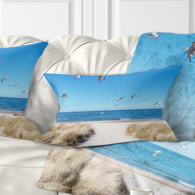 Beach with Seagulls in Rugen Island Seascape Pillow Size: 12 x 20, Product Type: Lumbar Pillow