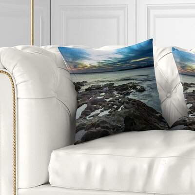 Beautiful Dark Seashore Australia Cityscape Pillow Size: 18 x 18, Product Type: Throw Pillow