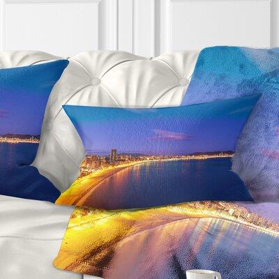 Benidorm Poniente Beach Sunset Seascape Pillow Size: 12 x 20, Product Type: Lumbar Pillow