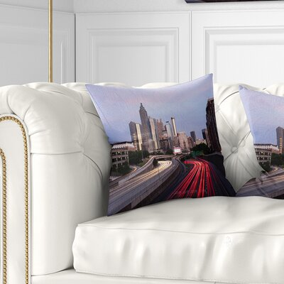 Atlanta Georgia Rush Hour Traffic at Dusk Cityscape Pillow Size: 16 x 16, Product Type: Throw Pillow
