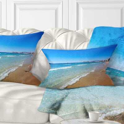 Benidorm Poniente Beach Waves Seascape Pillow Size: 12 x 20, Product Type: Lumbar Pillow