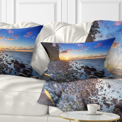 Baltic Sea and Orlowo Cliff at Sunrise Seascape Pillow Size: 12 x 20, Product Type: Lumbar Pillow