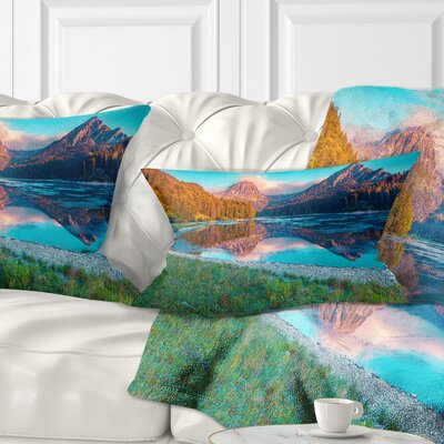 Beautiful Swiss Lake Obersee Landscape Photography Pillow Size: 12 x 20, Product Type: Lumbar Pillow