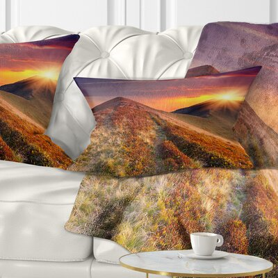 Autumn Hills with Grass Landscape Photography Pillow Size: 12 x 20, Product Type: Lumbar Pillow