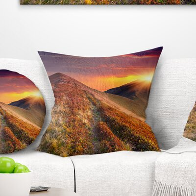 Autumn Hills with Grass Landscape Photography Pillow Size: 16 x 16, Product Type: Throw Pillow