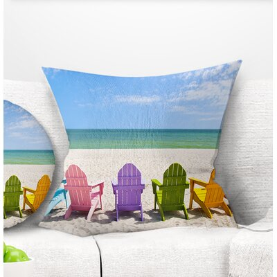 Adirondack Beach Chairs Seashore Photo Pillow Size: 16 x 16, Product Type: Throw Pillow
