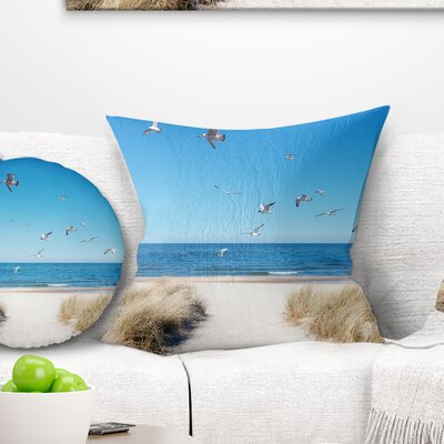 Beach with Seagulls in Rugen Island Seascape Pillow Size: 16 x 16, Product Type: Throw Pillow