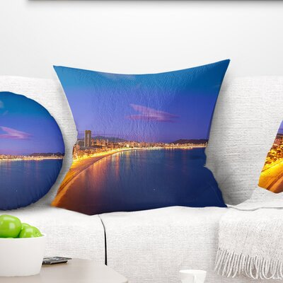 Benidorm Poniente Beach Sunset Seascape Pillow Size: 16 x 16, Product Type: Throw Pillow