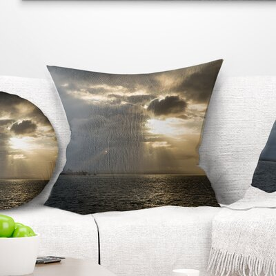 Beautiful Cloudy Sunset at Australia Beach Seashore Pillow Size: 18 x 18, Product Type: Throw Pillow