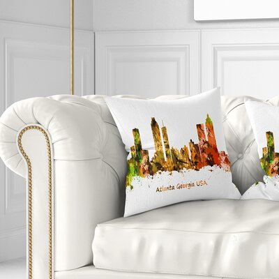 Atlanta Georgia Skyline Cityscape Pillow Size: 26 x 26, Product Type: Euro Pillow