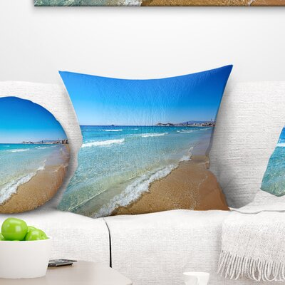 Benidorm Poniente Beach Waves Seascape Pillow Size: 16 x 16, Product Type: Throw Pillow