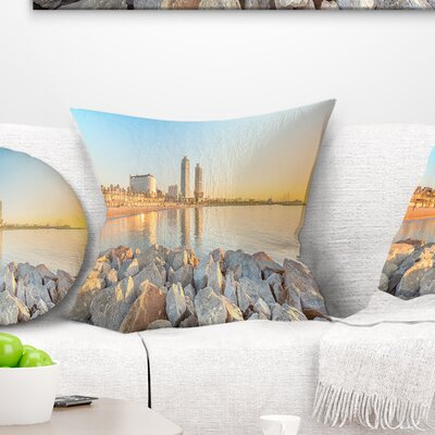 Barceloneta Beach in Barcelona Seashore Photo Pillow Size: 18 x 18, Product Type: Throw Pillow