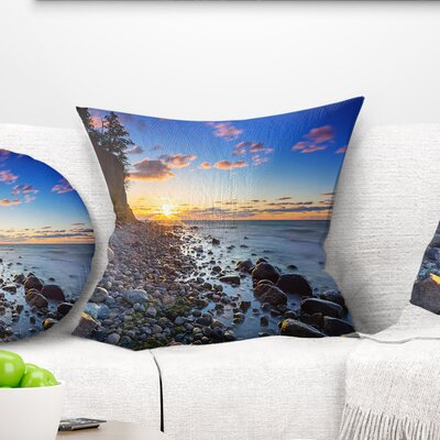 Baltic Sea and Orlowo Cliff at Sunrise Seascape Pillow Size: 16 x 16, Product Type: Throw Pillow