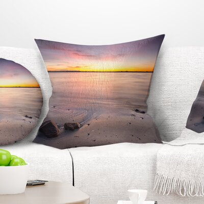 Beautiful Natural Sea during Sunrise Seashore Pillow Size: 16 x 16, Product Type: Throw Pillow