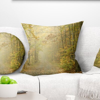 Autumn Forest Path on Misty Morning Landscape Photography Pillow Size: 18 x 18, Product Type: Throw Pillow