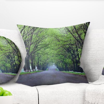 Arched Trees over Country Road Landscape Photography Pillow Size: 16 x 16, Product Type: Throw Pillow