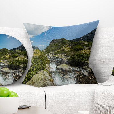 Alpine Stream in High Mountains Landscape Printed Pillow Size: 18 x 18, Product Type: Throw Pillow