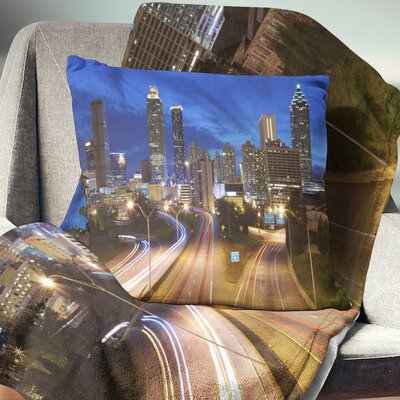 Atlanta Skyline Twilight Hour Cityscape Pillow Size: 18 x 18, Product Type: Throw Pillow