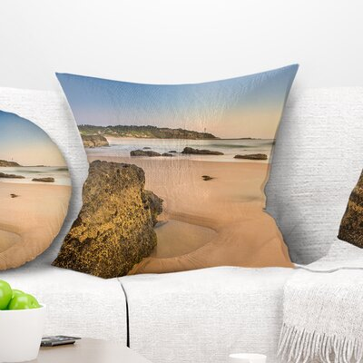 Beautiful Rocky Seashore at Norah Head Seashore Pillow Size: 16 x 16, Product Type: Throw Pillow
