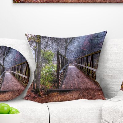 Beautiful Bridge over Creek Landscape Photo Pillow Size: 18 x 18, Product Type: Throw Pillow
