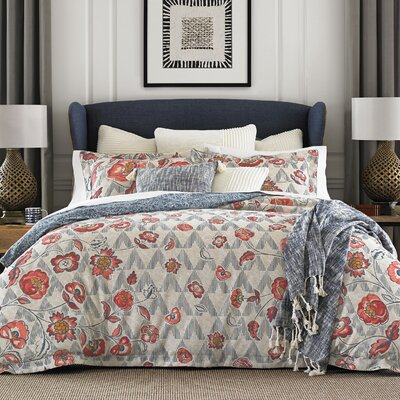 Thach Floral 100% Cotton Reversible Duvet Cover Set Size: King