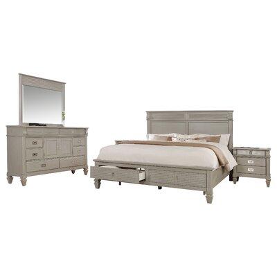 Holland Solid Wood Construction Platform 4 Piece Bedroom Set Size: King