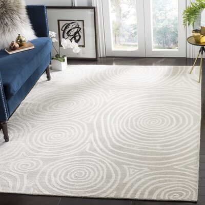 Archmont Hand Woven Silk/Cotton Ivory Area Rug Rug Size: Rectangle 9 x 12