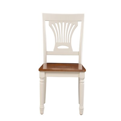 Whittaker Solid Wood Dining Chair Color: White/Cherry