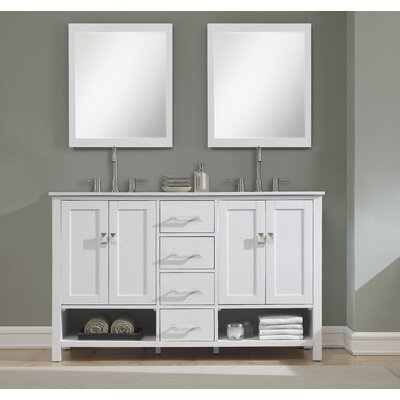 Pinedale 60 Double Bathroom Vanity Set Base Finish: White