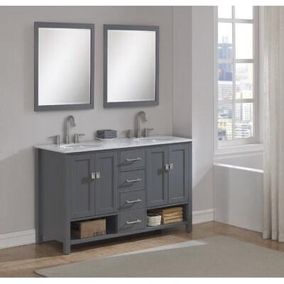 Pinedale 60 Double Bathroom Vanity Set Base Finish: Gray