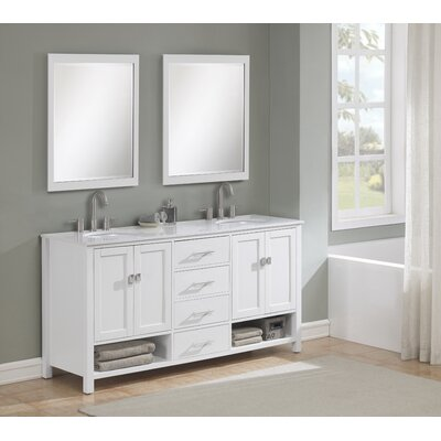 Pinedale 72 Double Bathroom Vanity Set Base Finish: White