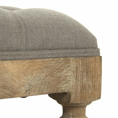Piatt Square Tufted Ottoman Upholstery: Alabaster, Finish: Oak