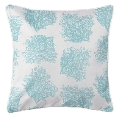 Greenwood Coastal Sea Fan Aqua Throw Pillow