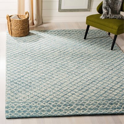 Costin Abstract Hand-Tufted Wool Blue/Ivory Area Rug Rug Size: Rectangle 6 x 9