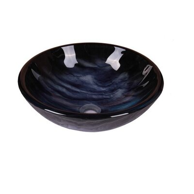 Ripples Abstract Tempered Glass Circular Bathroom Vessel Sink