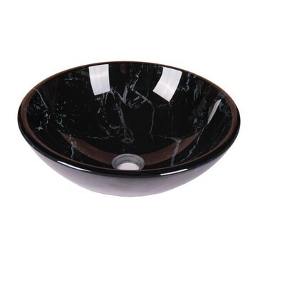 Marble Tempered Glass Circular Vessel Bathroom Sink Sink Finish: Murky