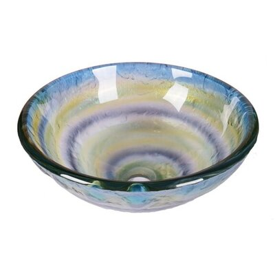 Element Abstract Tempered Glass Circular Vessel Bathroom Sink