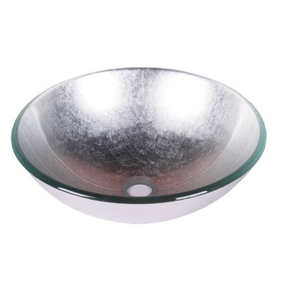 Foil Tempered Glass Circular Vessel Bathroom Sink Sink Finish: Silver