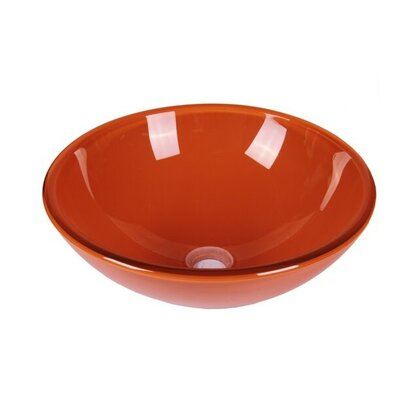 Tempered Glass Circular Vessel Bathroom Sink Sink Finish: Clear Orange