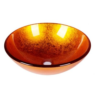 Foil Tempered Glass Circular Vessel Bathroom Sink Sink Finish: Gold