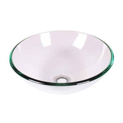 Tempered Glass Circular Vessel Bathroom Sink Sink Finish: Clear