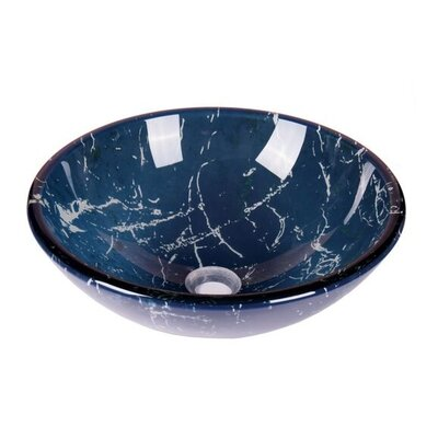 Marble Tempered Glass Circular Vessel Bathroom Sink Sink Finish: Blue