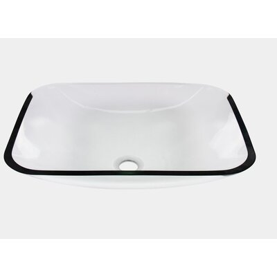 Tempered Glass Rectangular Vessel Bathroom Sink with Overflow