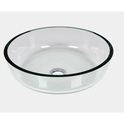 Tempered Glass Circular Vessel Bathroom Sink with Overflow