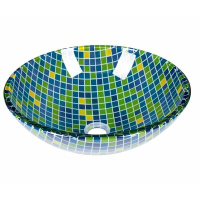 Mosaic Circular Vessel Bathroom Sink with Overflow