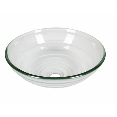 Frosted Tempered Glass Circular Vessel Bathroom Sink with Overflow