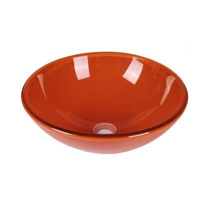 Tempered Glass Circular Vessel Bathroom Sink Sink Finish: Clear Orange